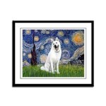 Starry-White German Shepherd Framed Panel Print