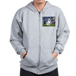Starry-White German Shepherd Zip Hoodie