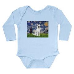 Starry-White German Shepherd Long Sleeve Infant Bo