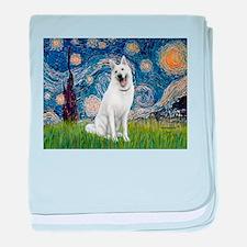 Starry-White German Shepherd baby blanket