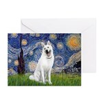 Starry-White German Shepherd Greeting Cards (Pk of