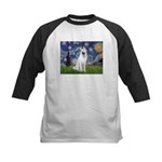 Starry-White German Shepherd Kids Baseball Jersey