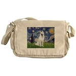 Starry-White German Shepherd Messenger Bag