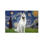 Starry-White German Shepherd Rectangle Magnet