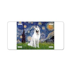 Starry-White German Shepherd Aluminum License Plat