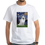 Starry-White German Shepherd White T-Shirt