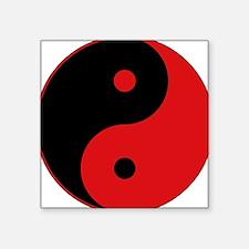 "Yin_yang-redblack.png Square Sticker 3"" x 3"""