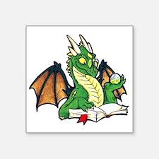 """Green Bookdragon Square Sticker 3"""" x 3"""""""