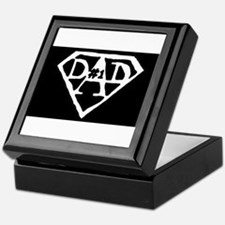 #1 dad in black Keepsake Box