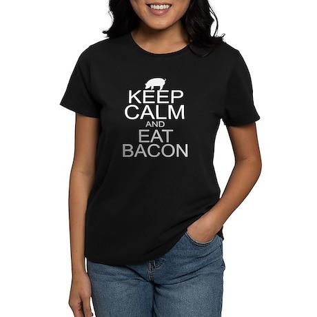 Keep Calm and Eat Bacon Women's Dark T-Shirt