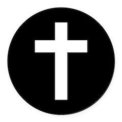 White Cross Round Car Magnet