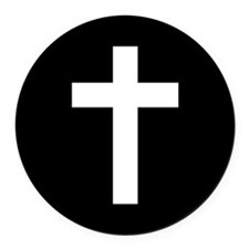 White Cross Round Car Magnet