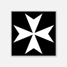 "White Maltese Cross Square Sticker 3"" x 3"""