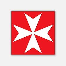 """White Maltese Cross Square Sticker 3"""" x 3"""""""