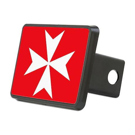 White Maltese Cross Rectangular Hitch Cover