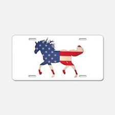American Flag Horse Aluminum License Plate