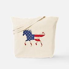 American Flag Horse Tote Bag