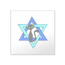 """Jewish Cat Stars Square Sticker 3"""" x 3"""""""