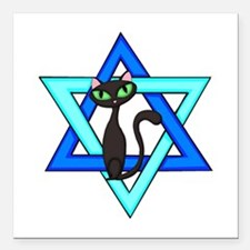"""Jewish Cat Stars Square Car Magnet 3"""" x 3&quo"""