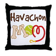 Havachon Dog Mom Throw Pillow