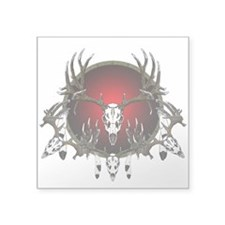 "European Skull mounts Square Sticker 3"" x 3"""