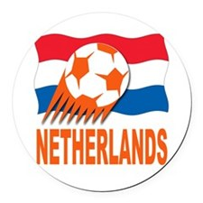 Netherlands World Cup Soccer Round Car Magnet