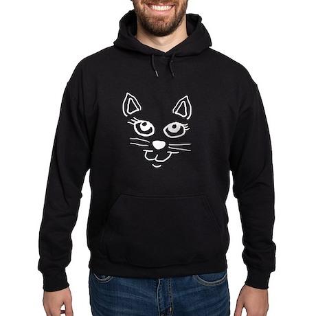 Cat face white.png Hoodie (dark)