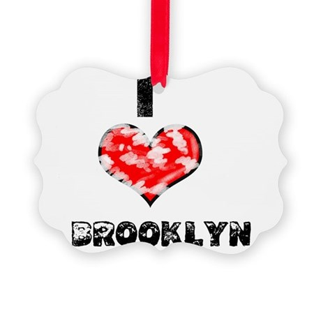 Grunge I Heart Brooklyn Picture Ornament