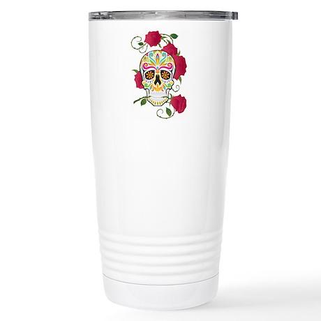 Rose Sugar Skull Stainless Steel Travel Mug