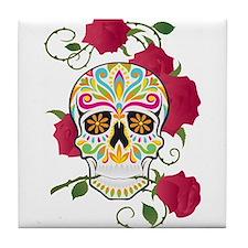 Rose Sugar Skull Tile Coaster
