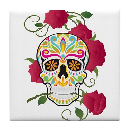 Rose Sugar Skull Tile Coaster