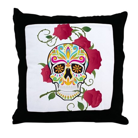 Rose Sugar Skull Throw Pillow