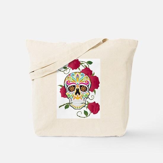 Rose Sugar Skull Tote Bag
