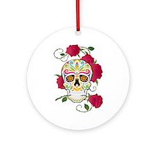 Rose Sugar Skull Ornament (Round)