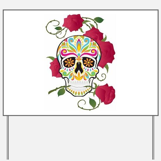 Rose Sugar Skull Yard Sign