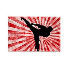 Martial Arts red sunburst Rectangle Magnet