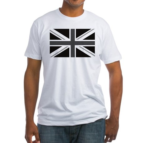 Union Jack mono Great Britain Flag Fitted T-Shirt