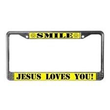Smile Jesus Loves You License Plate Frame