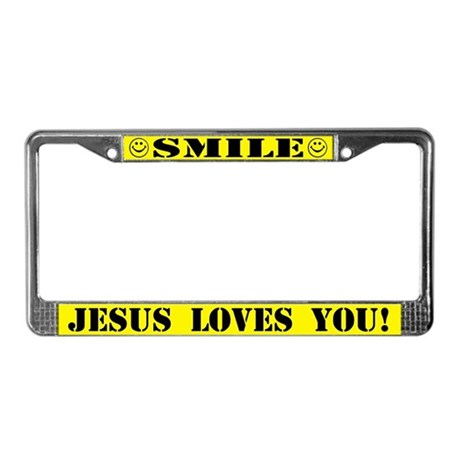 Smile Jesus Loves You License Plate Frame By Inchristshirts