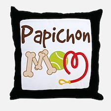 Papichon Dog Mom Throw Pillow