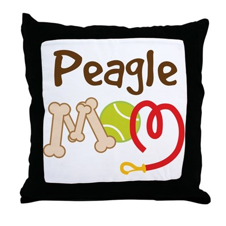 Peagle Dog Mom Throw Pillow