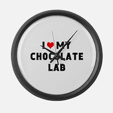 I 3 my chocolate lab Large Wall Clock