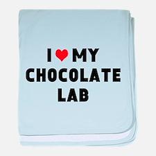 I 3 my chocolate lab baby blanket