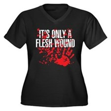 flesh wound Women's Plus Size V-Neck Dark T-Shirt