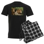 Two male brother lions Men's Dark Pajamas