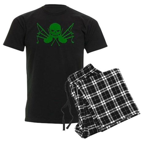 Skull & Crossdrones, Green Men's Dark Pajamas