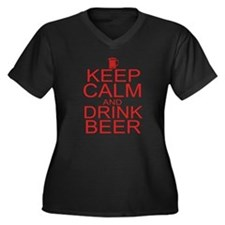 Keep Calm and Drink Beer Women's Plus Size V-Neck
