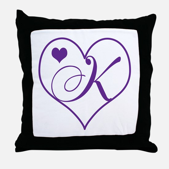 K Initial Throw Pillow