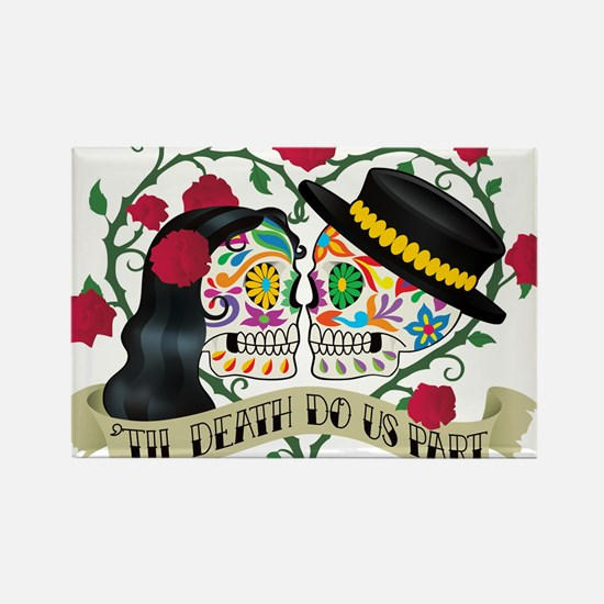 Day Of The Dead Wedding Rectangle Magnet