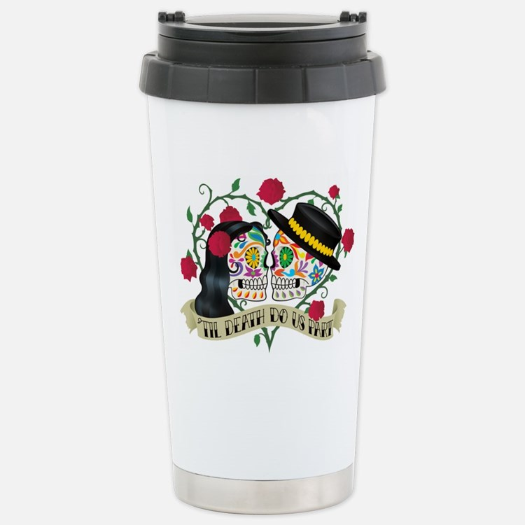 Day Of The Dead Wedding Travel Mug